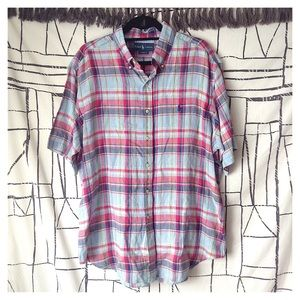 Ralph Lauren Classic Fit 100% Linen Plaid Shirt